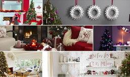 ตัวอย่างการตกแต่งห้องนั่งเล่นที่เต็มไปด้วยบรรยากาศของเทศกาลคริสต์มาส