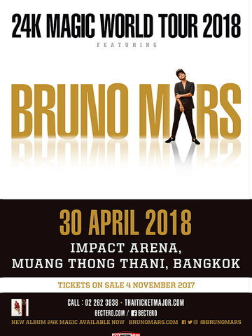 BRUNO MARS BRINGING THE 24K MAGIC WORLD TOUR TO BANGKOK