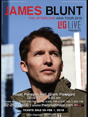 JAMES BLUNT THE AFTERLOVE ASIA TOUR 2018