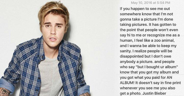 """Justin Bieber ส่อเค้า """"โรคซึมเศร้า"""" หลังปฏิเสธถ่ายรูปกับแฟนเพลงในที่สาธารณะ"""